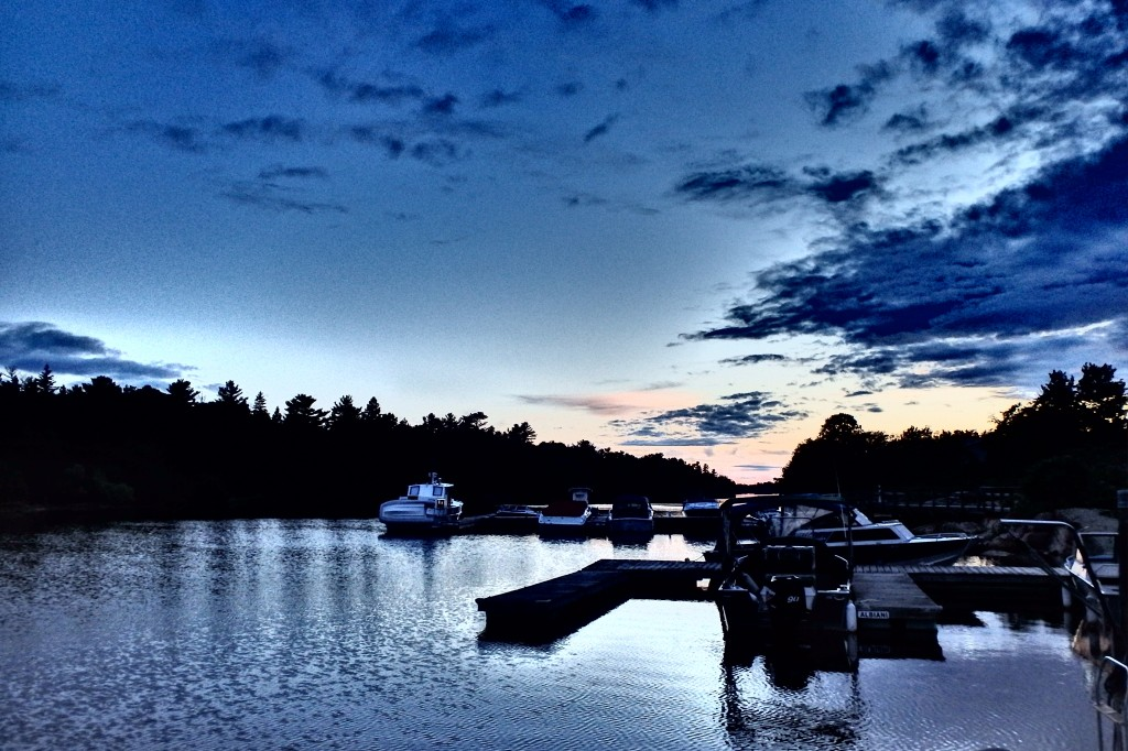 Night falling over the marina.