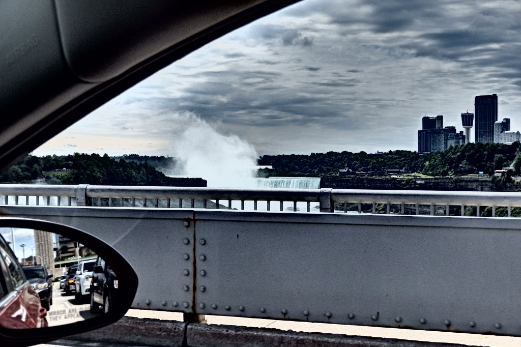 Niagara Falls from the bridge queuing up for the border crossing. Not a bad view during your 30-60 minute wait.